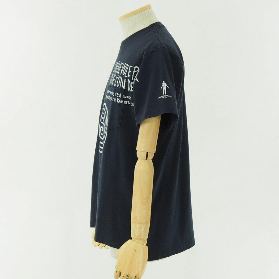 Engineered Garments - Printed Cross Crew Neck T shirt - Spiral - Navy