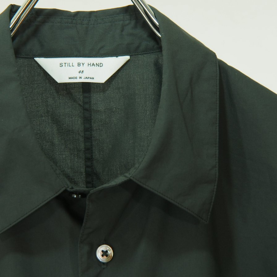 STILL BY HAND - Cotton Double Pocket S/S Shirt - Charcoal