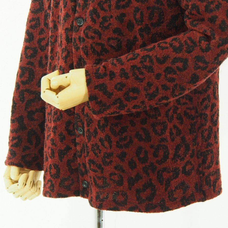 Needles ニードルズ - V Neck Cardigan - Leopard Knit Jq. - Red