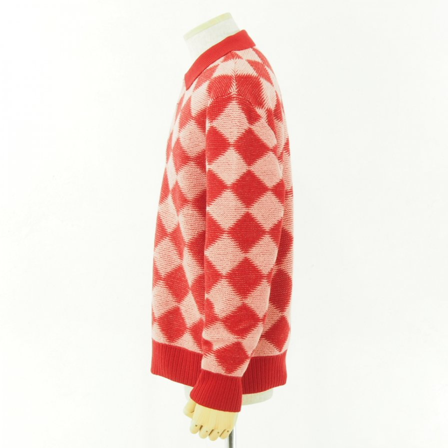 Needles ニードルズ - Polo Sweater - Checkered - Red