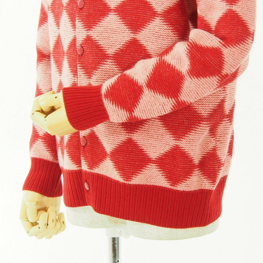 Needles ニードルズ - V Neck Cardigan - Checkered - Red