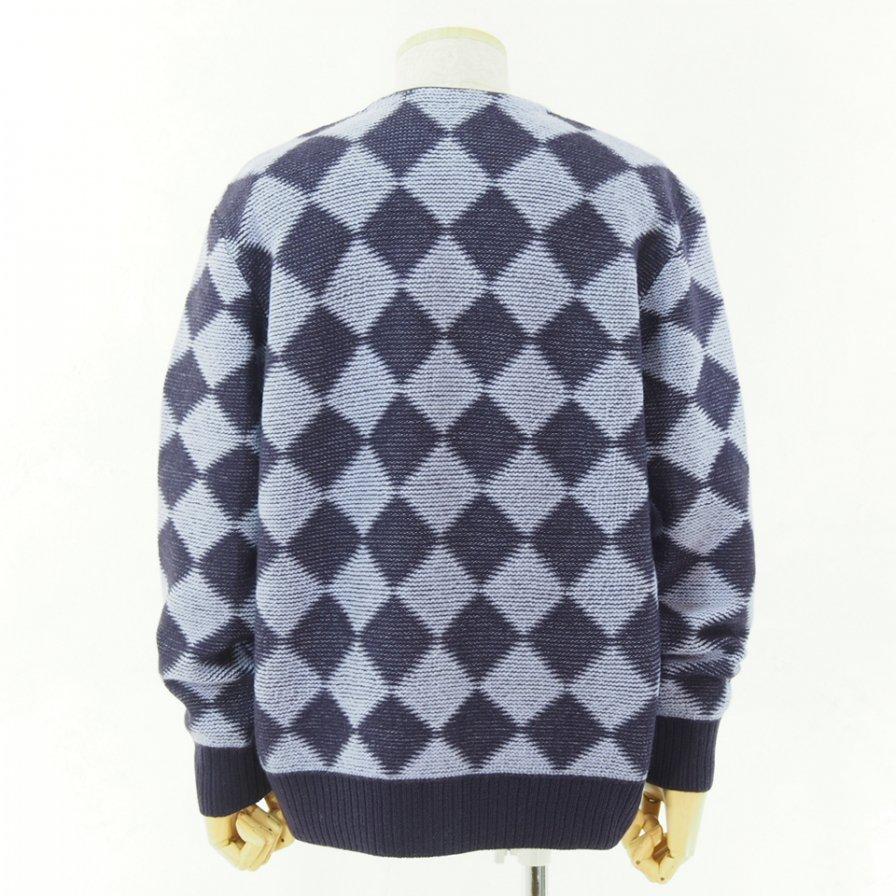 Needles ニードルズ - V Neck Cardigan - Checkered - Purple