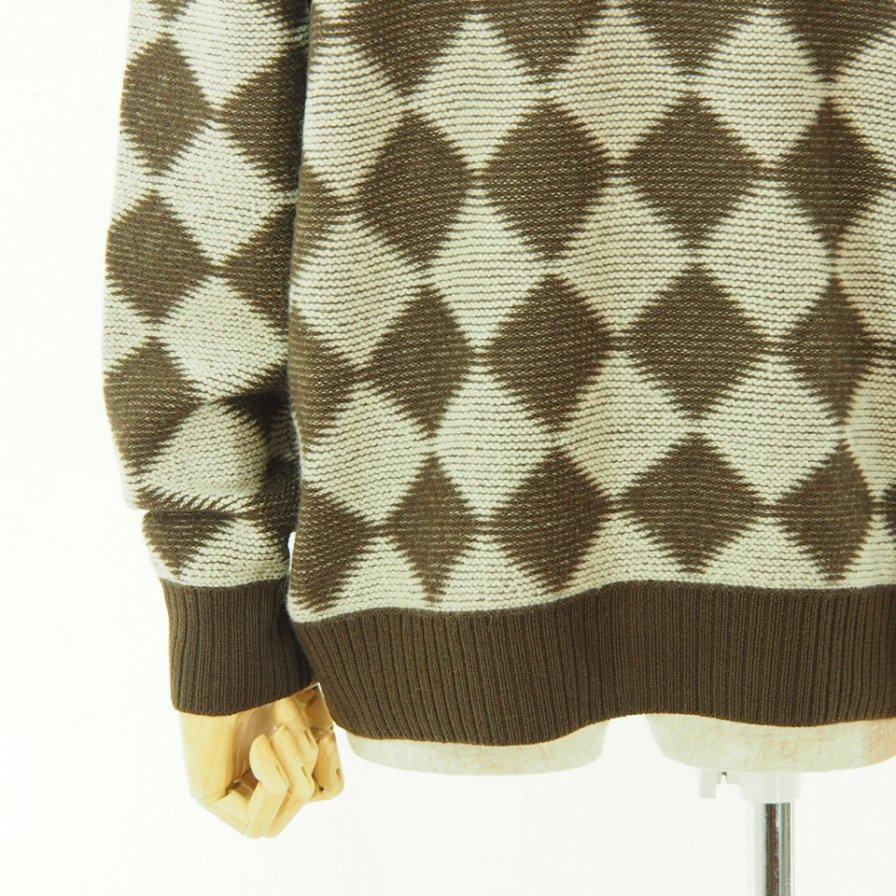 Needles ニードルズ - V Neck Cardigan - Checkered - Dk.Brown