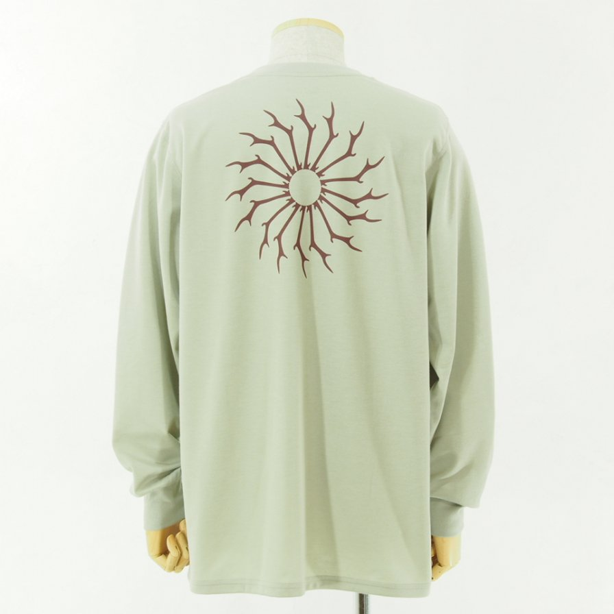 South2 West8 サウスツーウエストエイト - L/S Round Pocket Tee - Circle Horn - Oyster