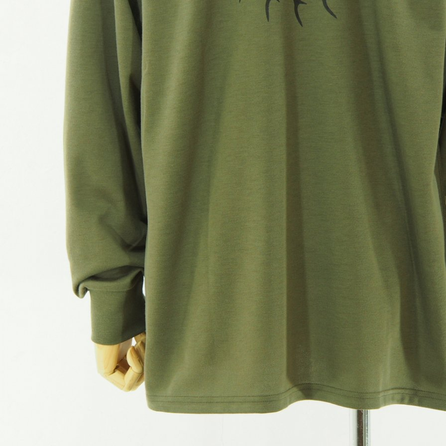 South2 West8 サウスツーウエストエイト - L/S Round Pocket Tee - Circle Horn - Olive