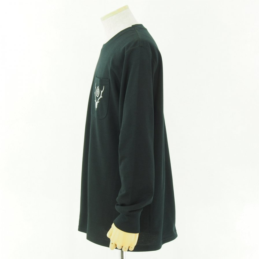 South2 West8 サウスツーウエストエイト - L/S Round Pocket Tee - Circle Horn - Black