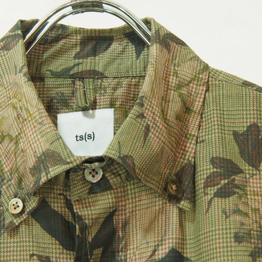 ts(s) ティーエスエス - Flower On Glen Plaid Print Stretch Cotton Cloth B.D. Shirt - Khaki