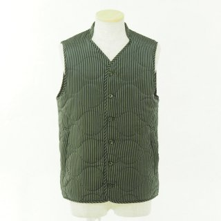 ts(s) ティーエスエス - Quilted Liner Vest - Block Stripe Cupra Cloth - Olive