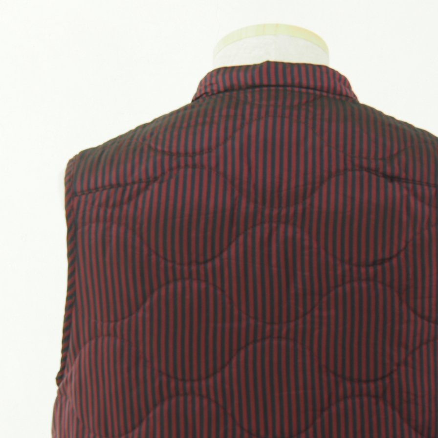 ts(s) ティーエスエス - Quilted Liner Vest - Block Stripe Cupra Cloth - Red