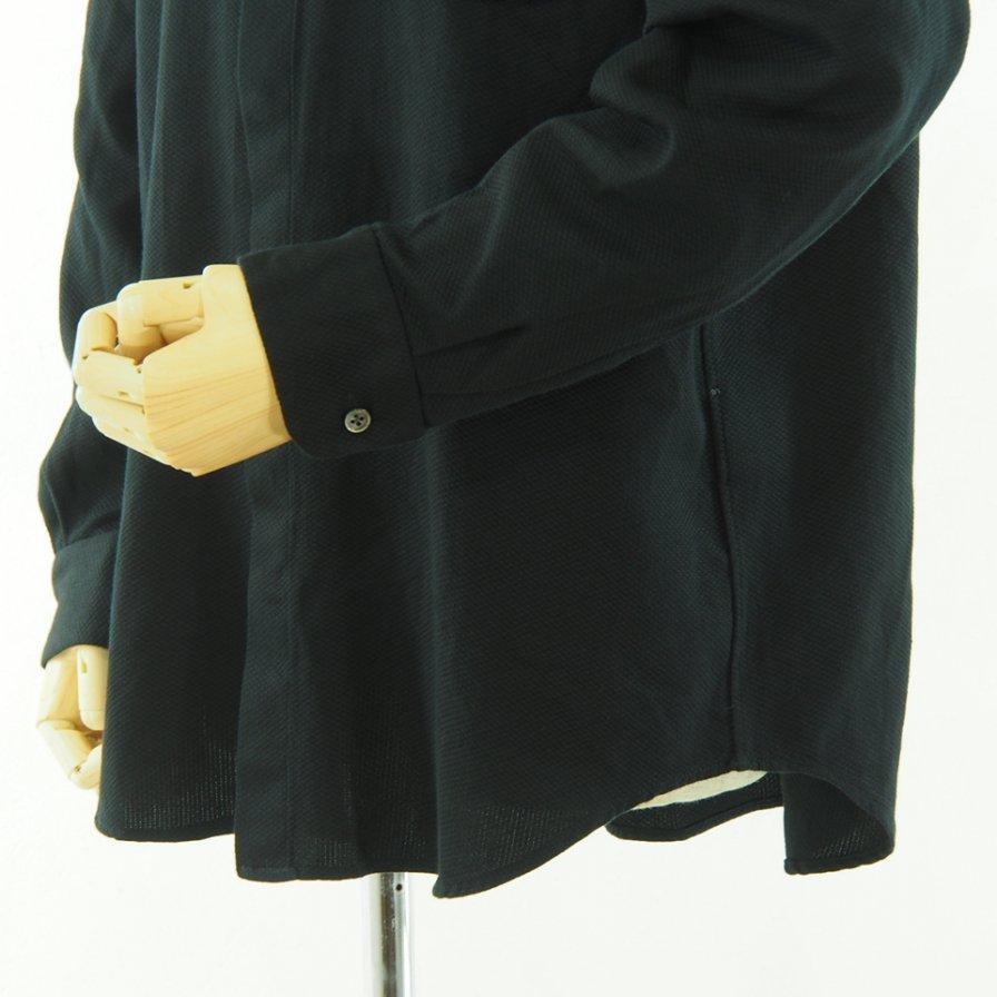 Engineered Garments エンジニアドガーメンツ - Short Collar Shirt - Waffle Pique - Black
