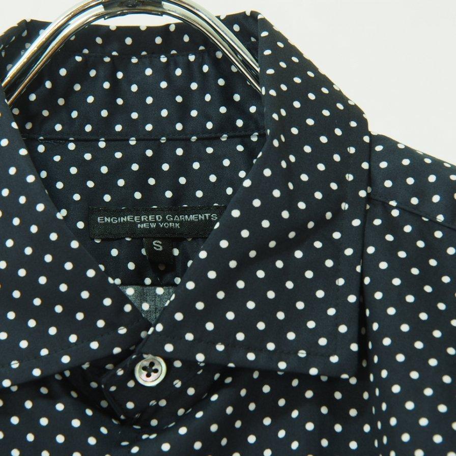 Engineered Garments エンジニアドガーメンツ - Spread Collar Shirt - Big Polka Dot - Navy