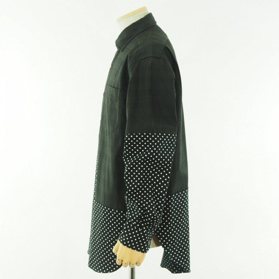 Engineered Garments エンジニアドガーメンツ - Spread Collar Shirt - Glen Plaid - Grey