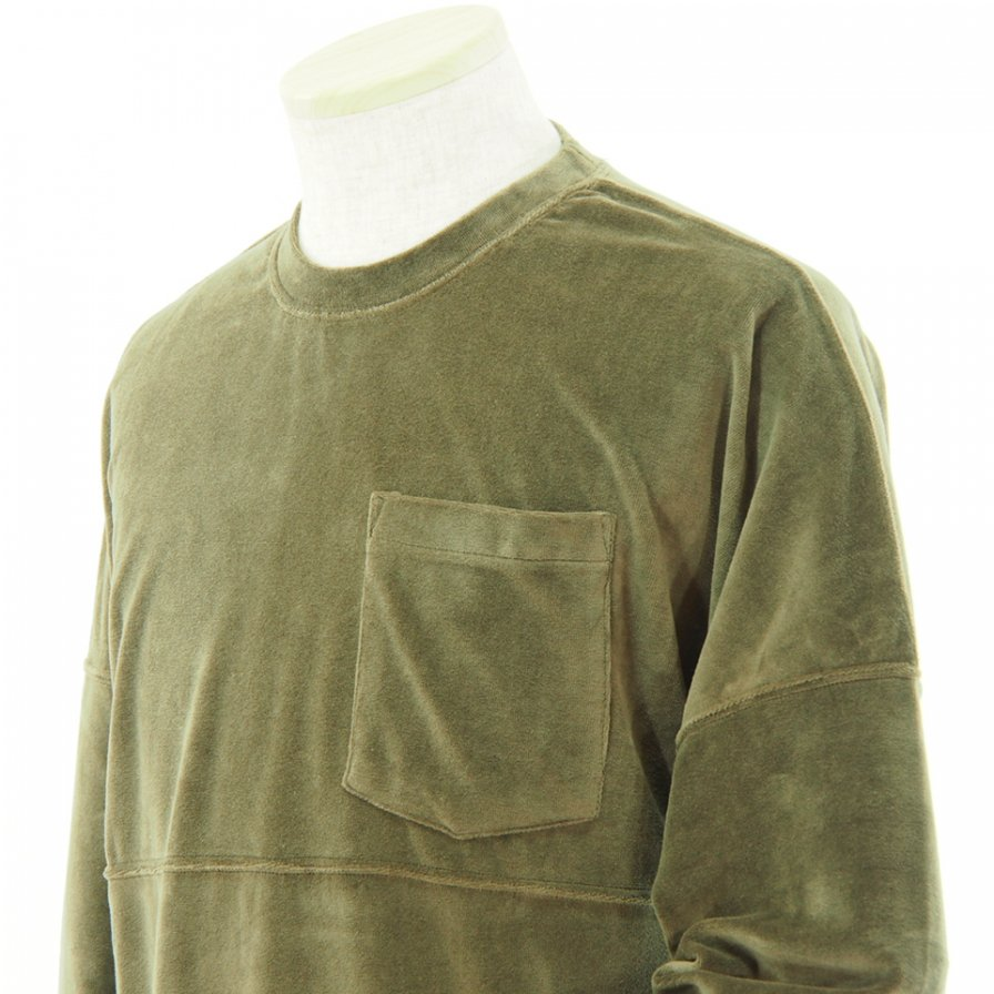 Charcoal チャコール - OC Velour  Foot L/S Pocket Tee - Taupe