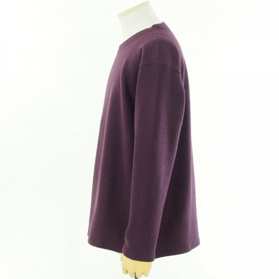 South2 West8 サウスツーウエストエイト - S.S.Crew Neck Shirt - Silver Knit - Purple