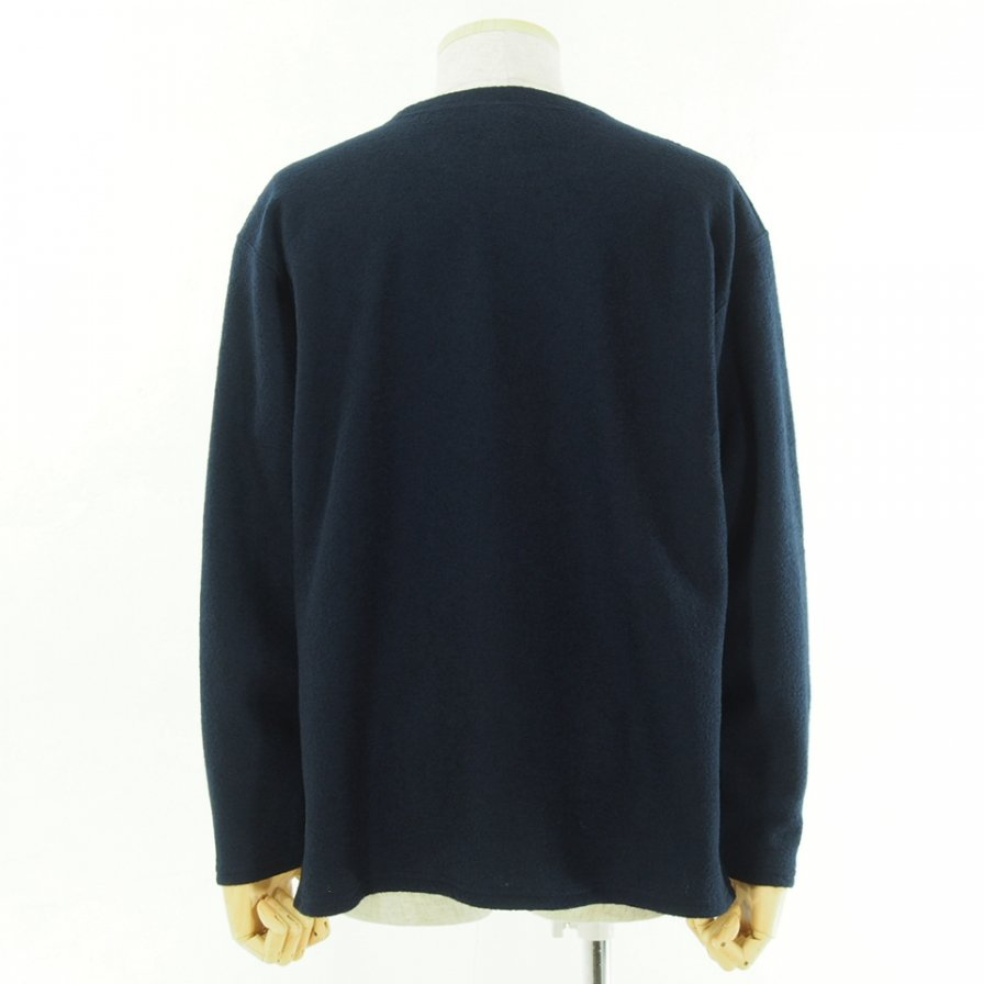 South2 West8 サウスツーウエストエイト - S.S.Crew Neck Shirt - Silver Knit - Navy