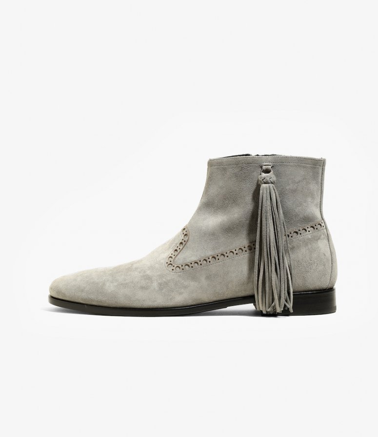 NEPCO FOOTWEAR ネプコフットウェアー - Medallion Boot With Tassel Fringe - Grey Suede