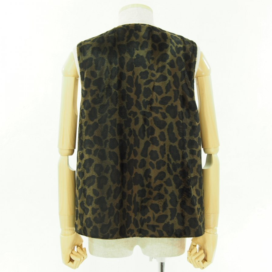 Engineered Garments エンジニアドガーメンツ - Over Vest - HB Twill - Brown / Leopard