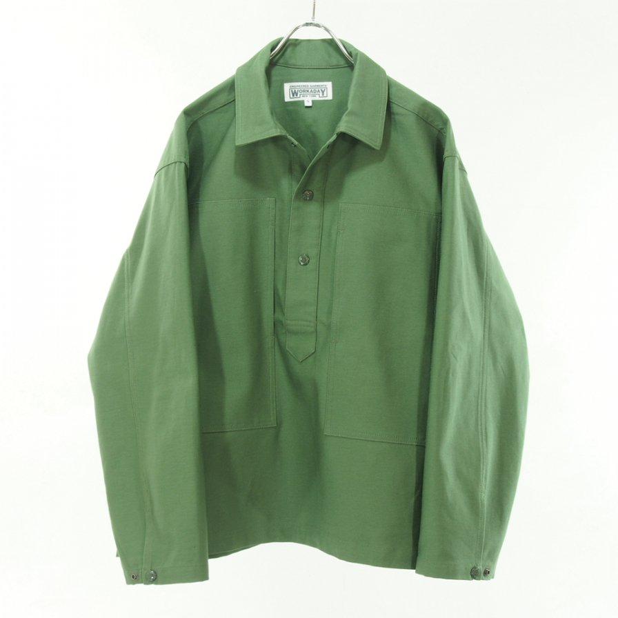 EG WORKADAY イージーワーカデイ - Army Shirt - Reversed Sateen - Olive