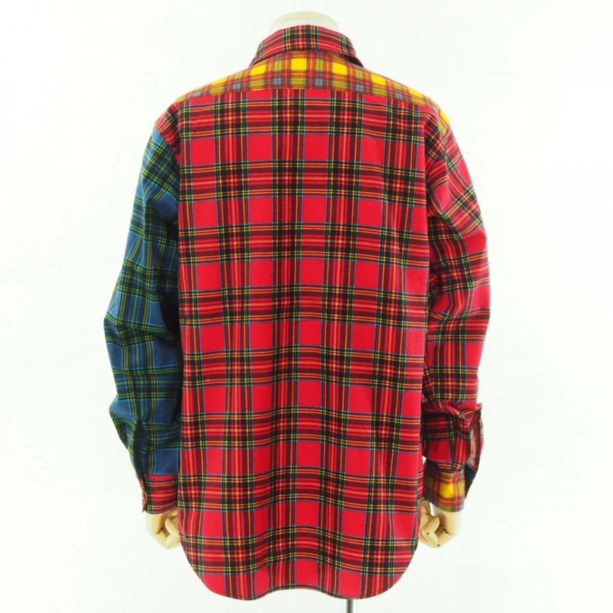 EG WORKADAY イージーワーカデイ - Utility Shirt Combo - Brushed Plaid - Red / Black