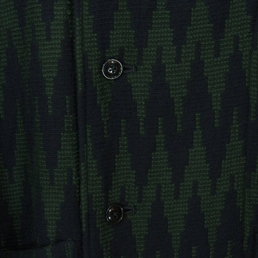 ts(s) ティーエスエス - Hooded Easy Coat - Raving Yarn Wool Zigzag Jacquard Cloth - Navy / Green