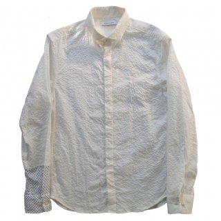 COTTON MIRACLE WAVE HIDDEN BUTTON SHIRT OFF WHITE