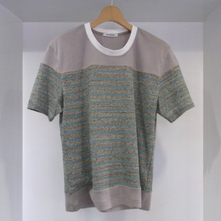 COTTON HEATHER COLOR JERSEY BORDER CREW NECK