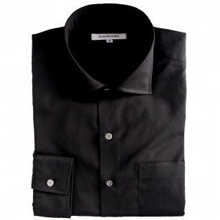 100/2 BROAD HORIZONTAL COLLAR SHIRT BLACK