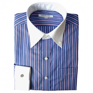 140/2 STRIPE BROAD B.D. COLLAR CLERIC SHIRT BLU
