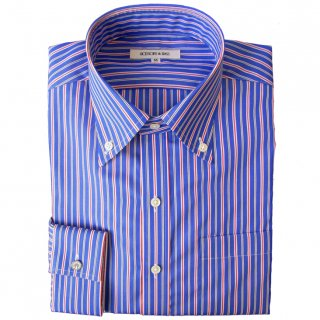 140/2 STRIPE BROAD B.D. COLLAR SHIRT BLU