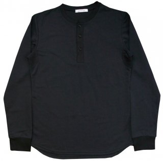 COTTON / NYLON JERSEY HENLEY NECK CUT SEWN SHIRT BLK