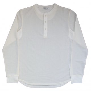 COTTON / NYLON JERSEY HENLEY NECK CUT SEWN SHIRT OFF WHITE