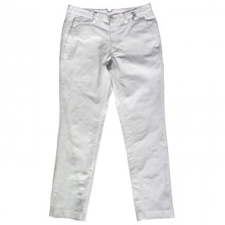 COTTON SLAB DENIM STRETCH  SLACKS OFF WHITE