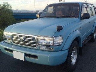トヨタ ランドクルーザー80をカスタムカラー ミントブルーで刷毛塗り全塗装!