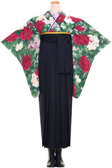 卒業式 アンティーク着物レンタル ☆ 【赤白牡丹】