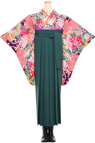 卒業式 アンティーク着物レンタル 【紫ピンク牡丹】