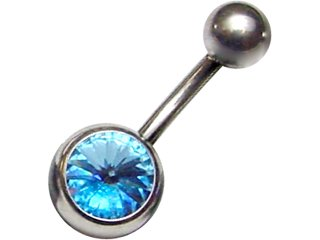 【JNS-P-14G】Jewelled Navel Studs Pointed Crystal 14G