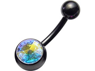 【KJN-14G】Blackline Jewelled Navel Bananabells 14G