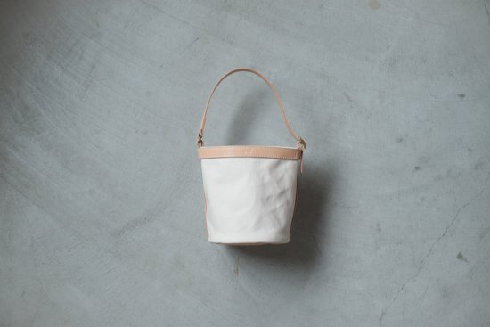 Leather handle bucket bag