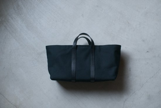 Leather handle yokonaga tote