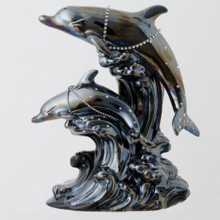 ドルフィン ブランデー|ブラックドルフィン ダイヤモンドアイズ(ダイヤモンド)(イルカ 2匹版) 40% 500ml