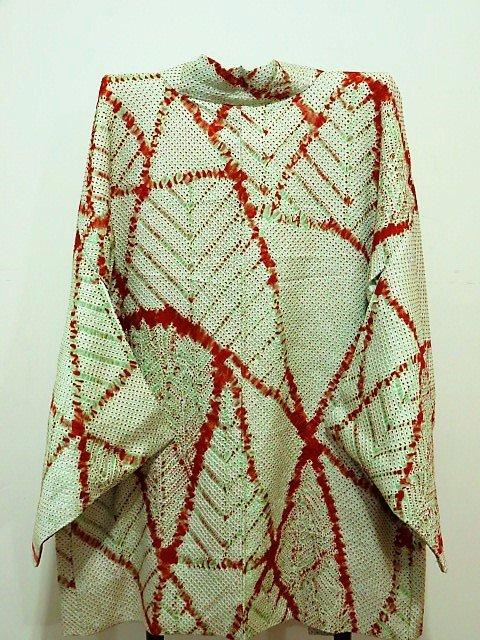 【羽織】絞りの羽織_黄緑に赤