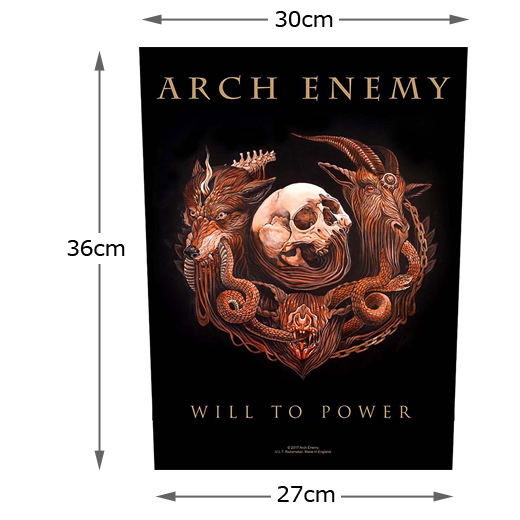 Arch Enemy / アーチ・エネミー - Will To Power. バックパッチのサイズ