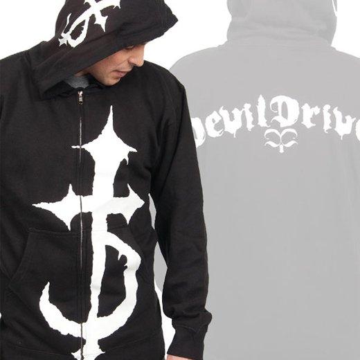 Devildriver / デヴィルドライヴァー - Cross. ジップアップパーカー【お取寄せ】