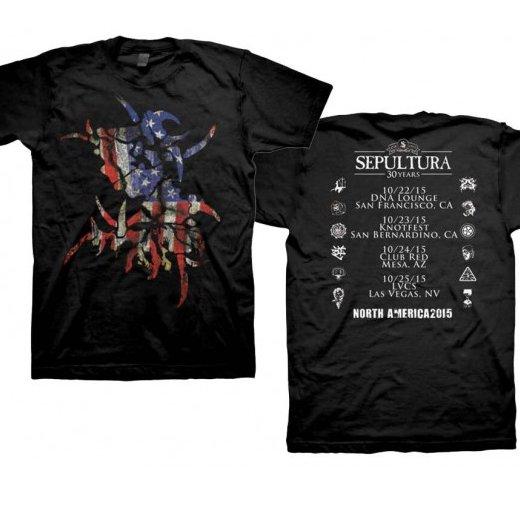 Sepultura / セパルトゥラ - US Flag Tour Dates. Tシャツ【お取寄せ】