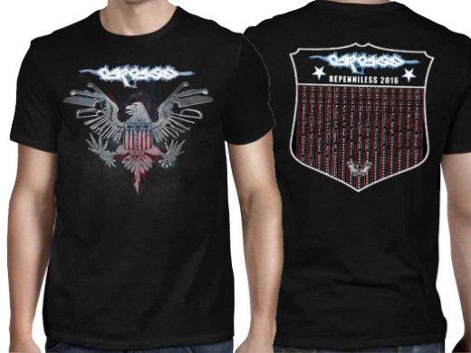 Carcass / カーカス - Eagle White Logo 2016 Tour. Tシャツ【お取寄せ】