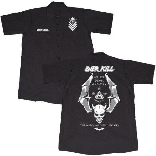 Overkill / オーヴァーキル - Logo Badge Skull. ワークシャツ【お取寄せ】