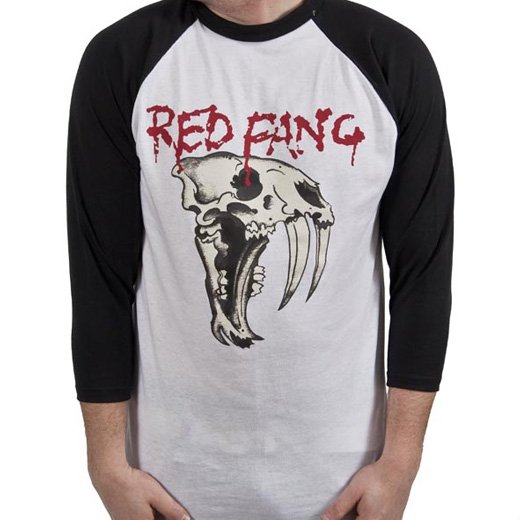 Red Fang / レッド・ファング - Fang (White). ラグランTシャツ【お取寄せ】