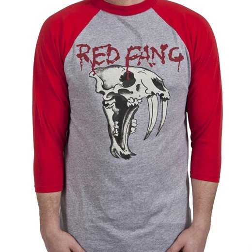 Red Fang / レッド・ファング - Fang (Heather). ラグランTシャツ【お取寄せ】