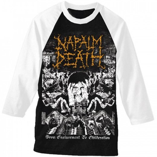 Napalm Death / ナパーム・デス - From Enslavement To Obliteration. ベースボールシャツ【お取寄せ】
