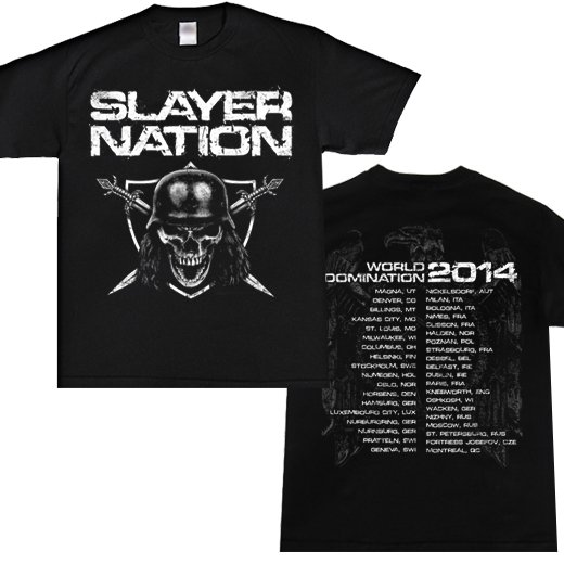 <img class='new_mark_img1' src='//img.shop-pro.jp/img/new/icons1.gif' style='border:none;display:inline;margin:0px;padding:0px;width:auto;' />Slayer / スレイヤー - Slayer Nation 2014 Dates. Tシャツ【お取寄せ】